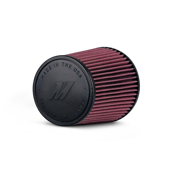 """Mishimoto Performance Air Filter, 4"""" Inlet, 7"""" Filter Length, Red"""