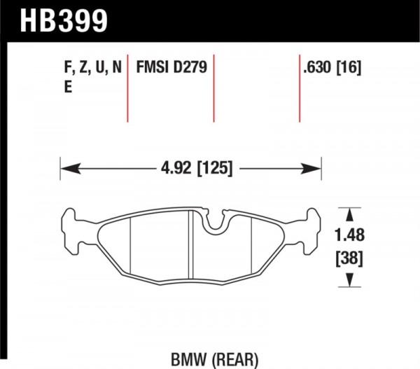84-4/91 BMW 325 (E30) DTC-50 Race Rear Brake Pads
