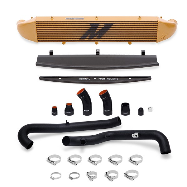 Ford Fiesta ST Performance Intercooler Kit, 2014+ Black Pipes, Gold Cooler