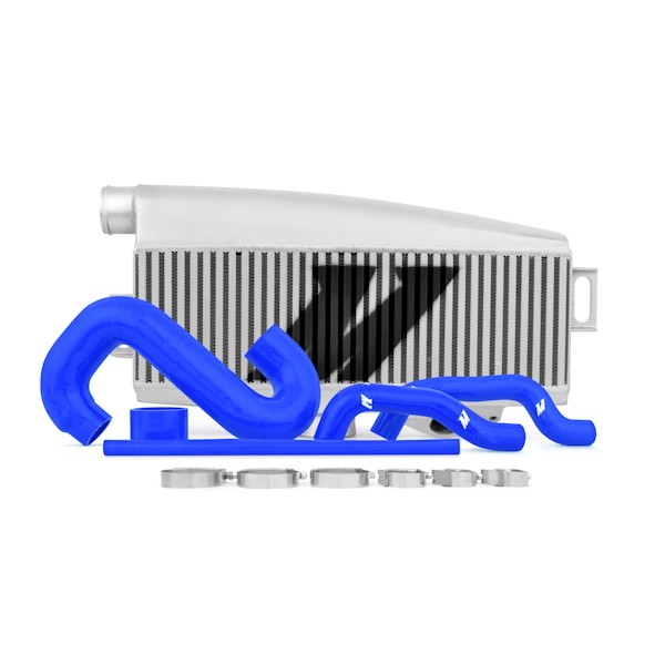 Subaru WRX/STI Performance Top-Mount Intercooler Kit, Silver Intercooler, Blue Silicone, 2002-2007