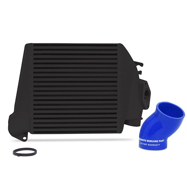 Subaru WRX 2008-2014 Top-Mount Intercooler Black Cooler, Blue Hoses