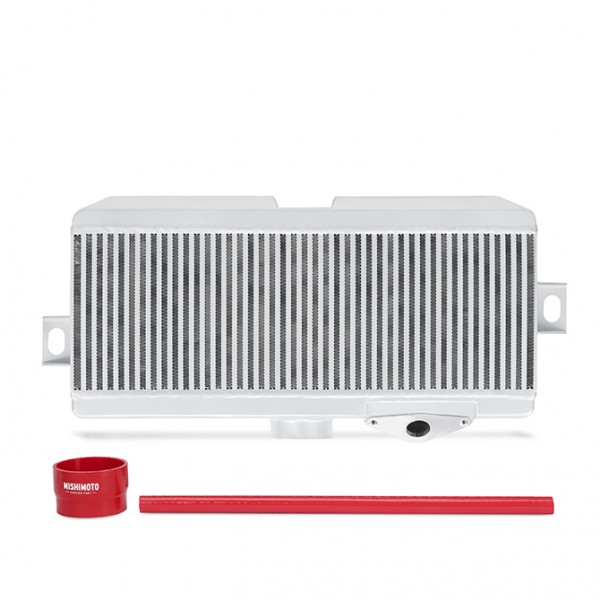 Subaru WRX STI Performance Top-Mount Intercooler Kit, Silver Cooler, Red Hoses, 2008-2014