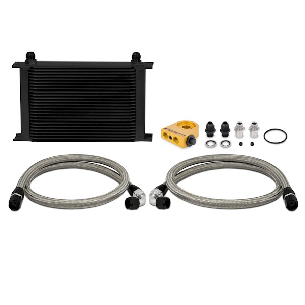 Universal Thermostatic Oil Cooler Kit, Black, 25 Row